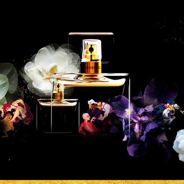 perfumes on a dark and flowery background